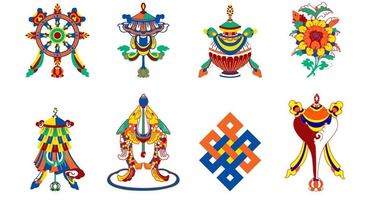 Eight Auspicious Tibetan Symbols of Good Fortune
